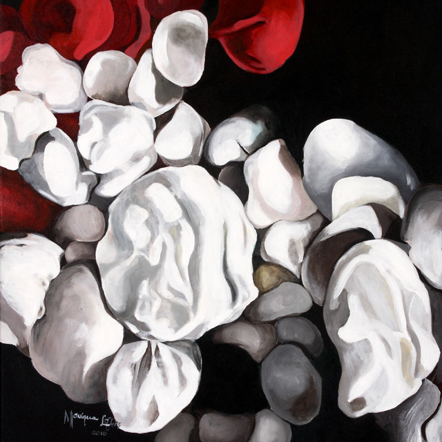 Monique Lofters Artwork with white roses