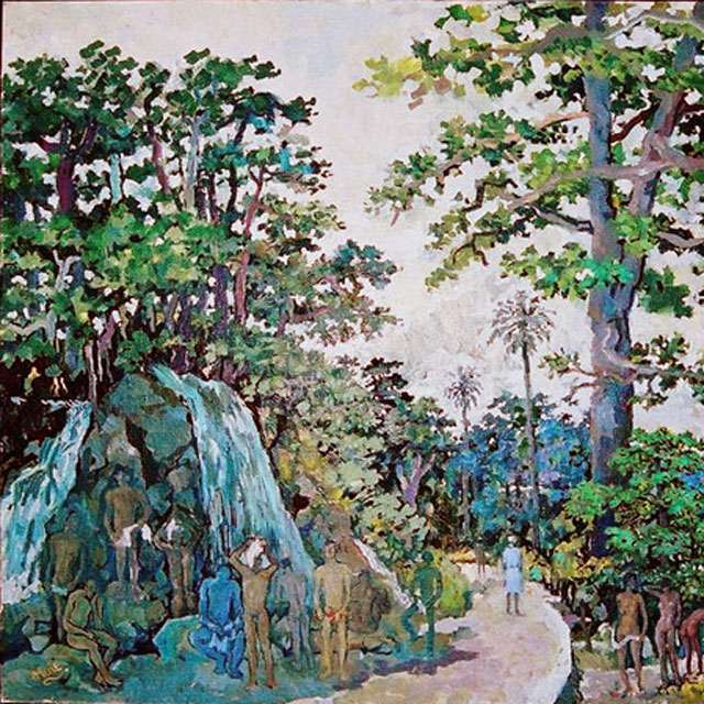 Painting by Albert Huie - Waterfalls